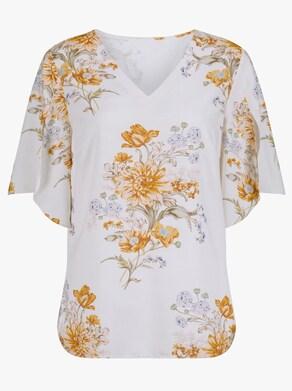 Bluse - weiß-gelb-bedruckt