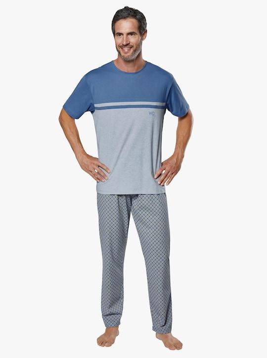 wäschepur Schlafanzug - blau-grau-bedruckt