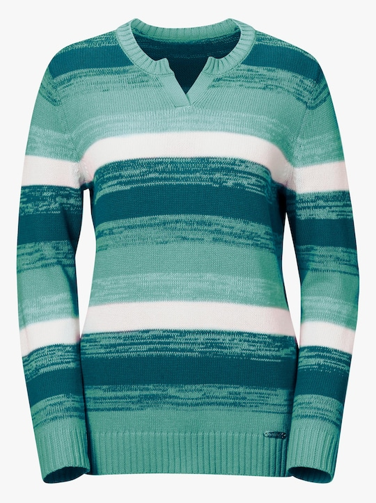 Collection L Pullover - jade-petrol-gestreift