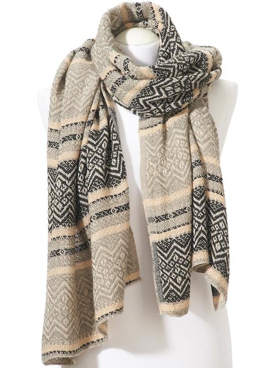 heine Sjaal - crème/grijs