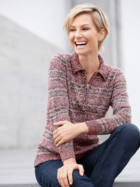 Collection L Pullover - rosé-gemustert