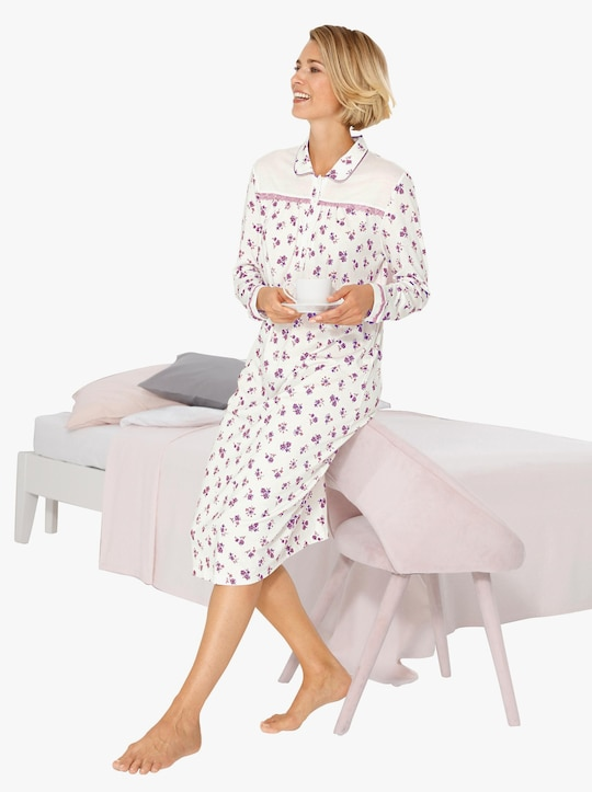 wäschepur Nachthemd - ecru-mauve-bedruckt