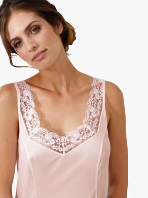 Kort underklänning - vit + ljusrosa