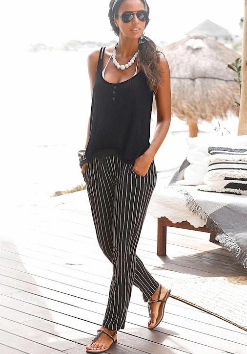 Buffalo Strandhose - schwarz-weiß-gestreift