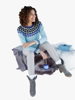 Pullover - eisblau-gemustert