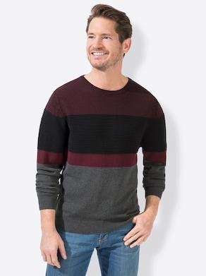 Pullover - bordeaux-grau-gemustert