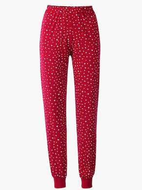 Comtessa Schlafanzug-Hosen - rot + rot-bedruckt