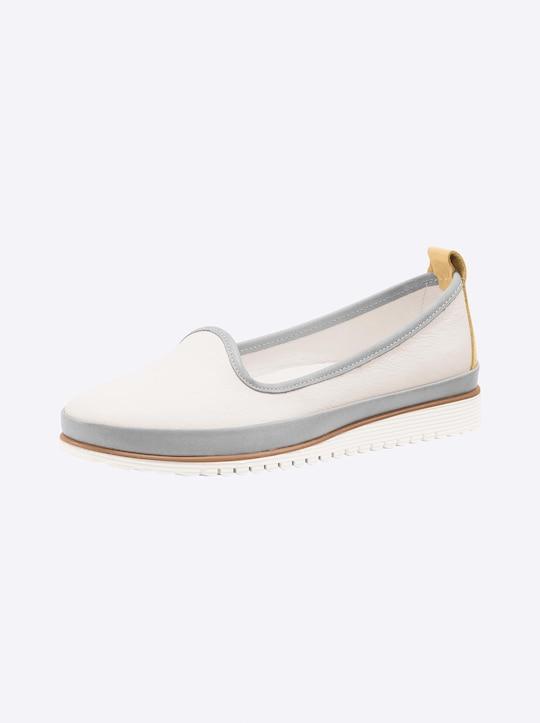Andrea Conti Slipper - weiß-hellgrau-gelb