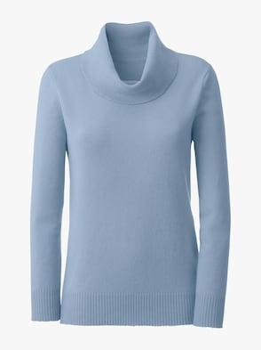 Kaschmir-Pullover - blau-meliert