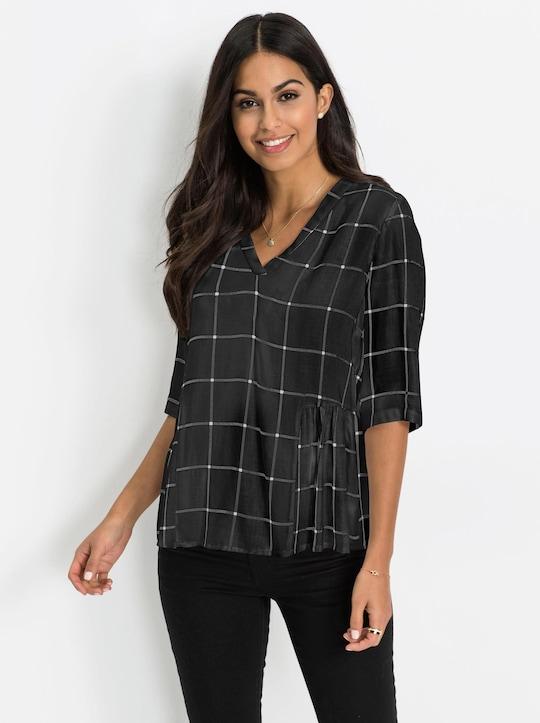 Shirt - schwarz-weiß-kariert