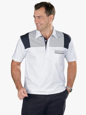 Poloshirt - weiß-marine