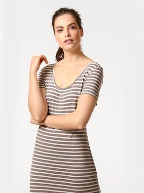 Linea Tesini Jersey-Kleid - beige-weiß