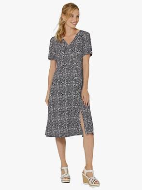 Kleid - schwarz-terra-bedruckt