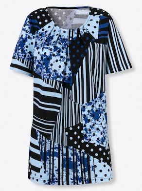 Shirt - eisblau-gemustert
