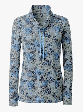 Sweatshirt - blau-grau-gemustert