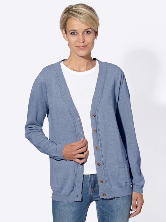Collection L Strickjacke - bleu-meliert