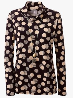Shirt - schwarz-caramel-bedruckt