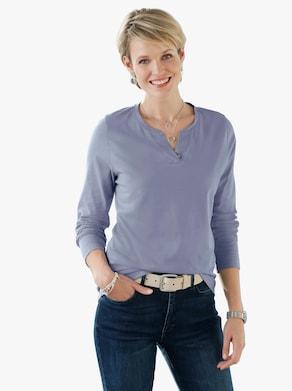 Shirt met V-hals - lichtblauw