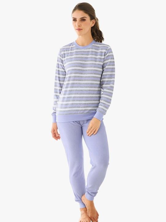 Schlafanzug - flieder-geringelt