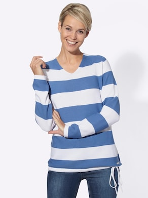 Collection L Pullover - blauw/wit gestreept