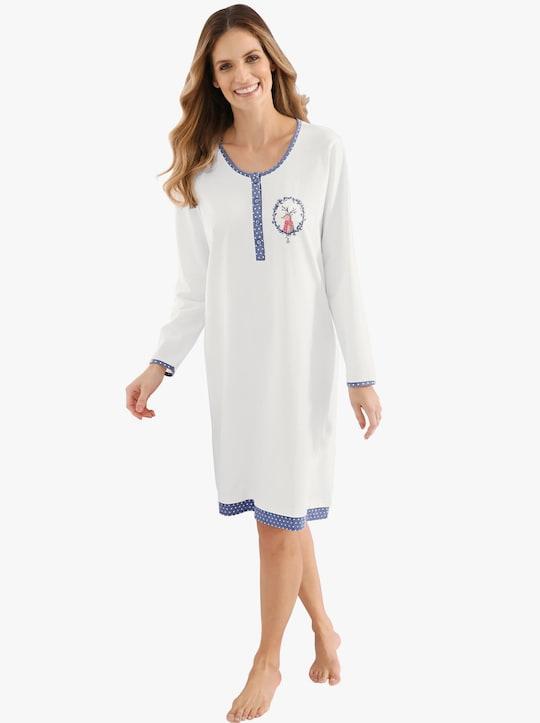 Comtessa Sleepshirt - ecru-taubenblau-gepunktet