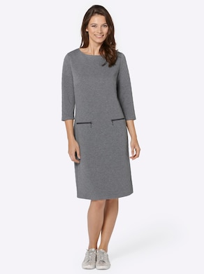 Jersey-Kleid - grau-meliert