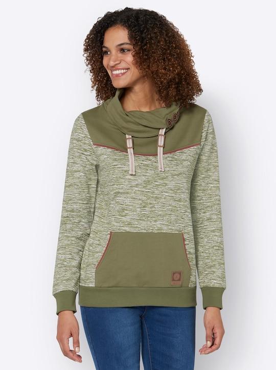 Sweatshirt - olive-weiß-meliert