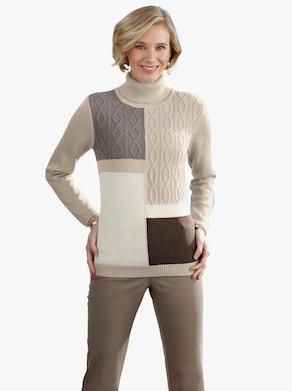 Pullover - zand gedessineerd