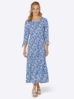 Druck-Kleid - kornblume-ecru-bedruckt
