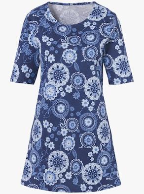 Dlouhé tričko - noční modrá-vzor