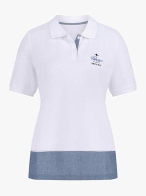 Collection L Poloshirt - weiß-taubenblau
