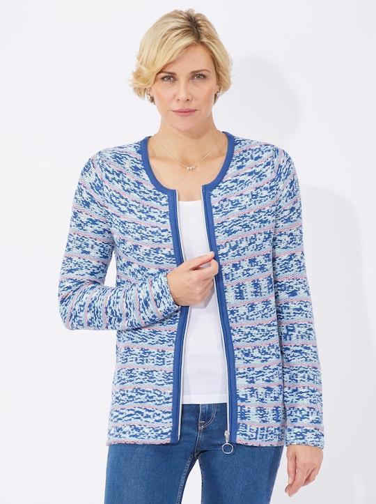 Strickjacke - bleu-gemustert