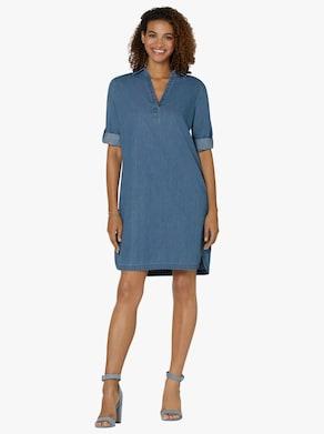 Collection L Džínové šaty - bělená modrá