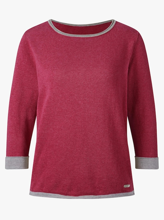 Collection L Pullover - weinrot-grau