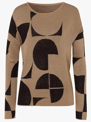 Pullover - camel/zwart gedessineerd