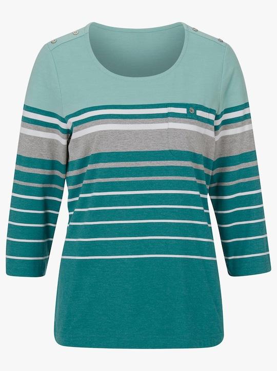 Collection L Shirt - smaragd-mint-gestreift