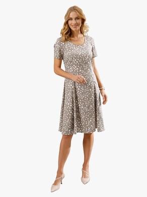 Kleid - taupe-gemustert