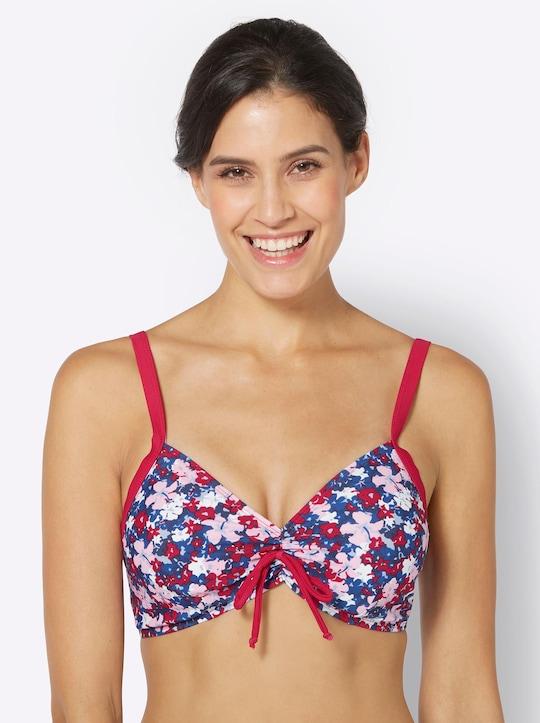 feel good Bikini-Oberteil - blau-rot-bedruckt