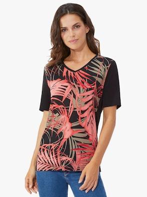 Shirt - koralle-schwarz-bedruckt
