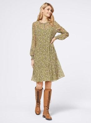 Linea Tesini Druck-Kleid - olive-gelb-bedruckt