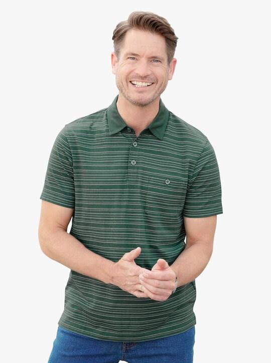 Poloshirt - moos-gestreift