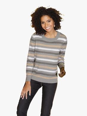 Pullover - grau-sand-gestreift