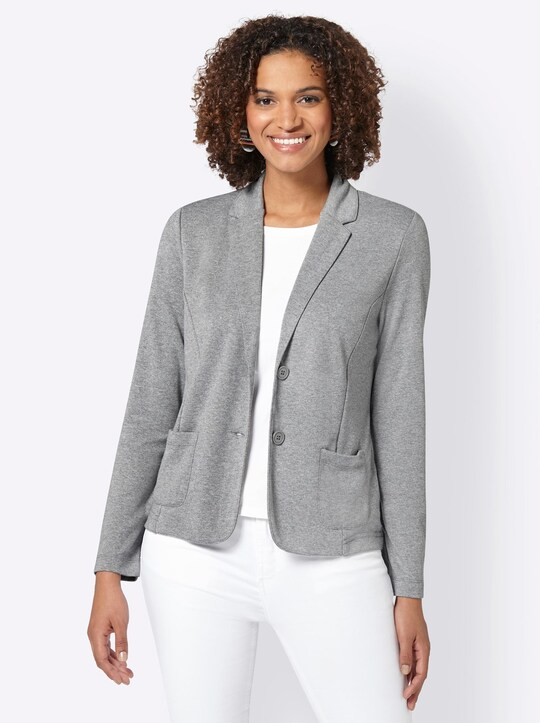 Collection L Jersey-Blazer - grau-meliert