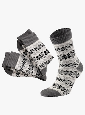 wäschepur Warme sokken - ecru gedessineerd