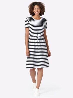 Collection L Jersey-Kleid - schwarz-weiß-gestreift