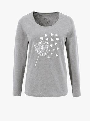 Langarm-Shirt - grau-meliert