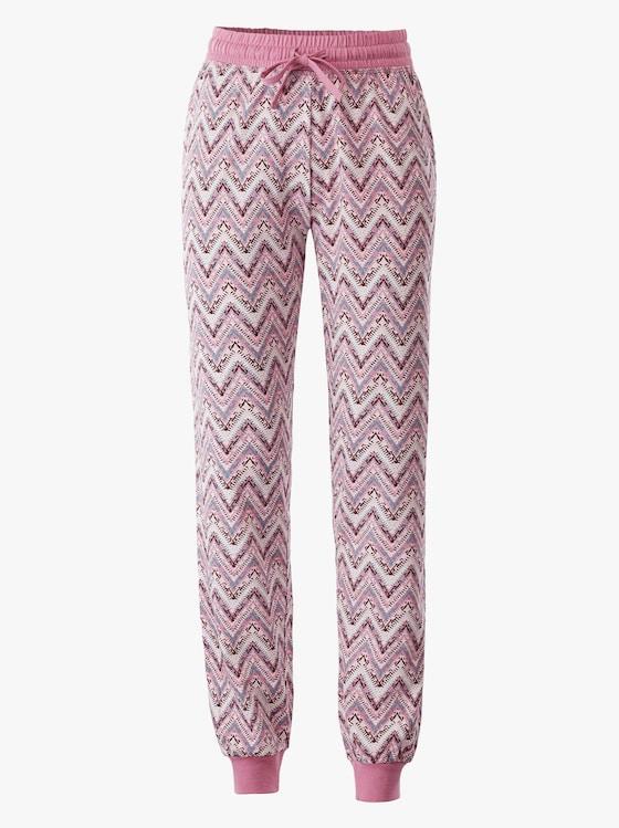 Schlafanzug-Hose - rosé-zick-zack