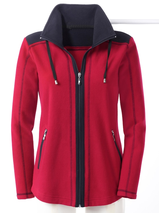 Collection L Fleece-Jacke - rot-schwarz