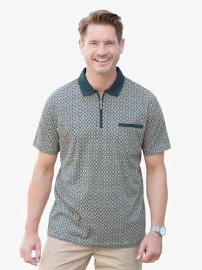 Poloshirt - grün-grau-gemustert