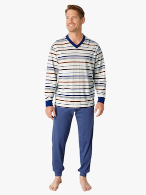 Schlafanzug - ecru-blau-gestreift